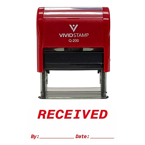 (Received by Date Self Inking Rubber Stamp (Red Ink))