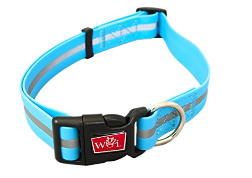 WIGZI Reflective, Waterproof, Stink Free, Adjustable and Durable Collar For Dogs - 2 Year Warranty- Neon Blue, Large Size by WIGZI