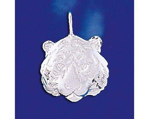 (Sterling Silver Tiger Head Pendant Tigress Bengal Siberian Cat Charm 925 Italy Jewelry Making Supply Pendant Bracelet DIY Crafting by Wholesale Charms)