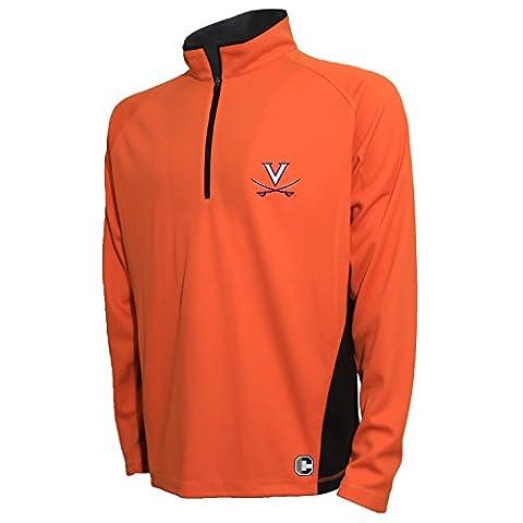 NCAA Virginia Cavaliers Men's Textured Quarter Zip Pullover, Medium, Varsity Orange/Carbon ()