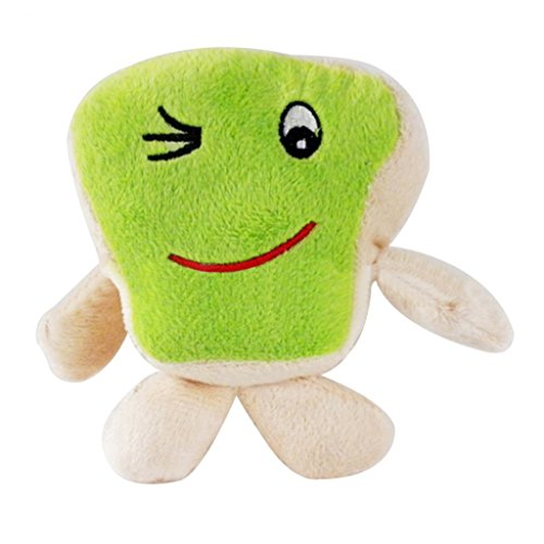 Braceus Funny Expression Sponge Shape Soft Pet Dog Puppy Chewing Sound Stuffed Toy (Green) ()