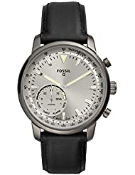 Fossil Men's Goodwin Stainless Steel and Leather Hybrid Smartwatch, Color: Smoke Grey, Black (Model: FTW1171)