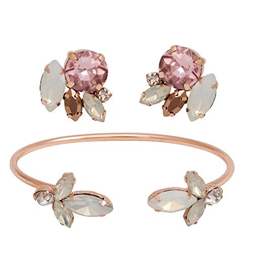 Sarekabride Rose Gold Bridal Bracelet Opal Crystal Rhinestone Wedding Bridal Stud Earrings Set