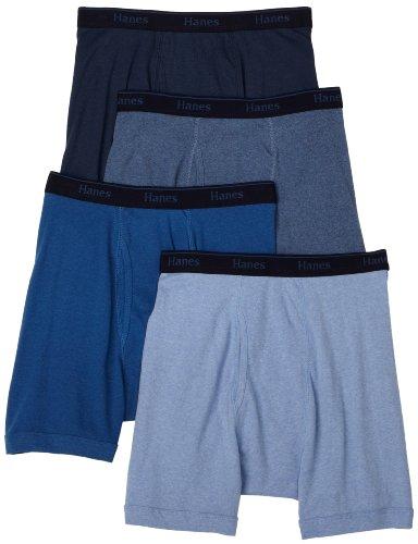 Hanes Classics Men's Multi-Color Boxer Brief Underwear, Slate Heather/Blue Stone/Scuba Blue Heather/Federal Blue, X-Large (Pack of 4) ()