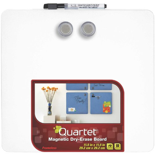 Quartet Magnetic Dry-Erase Boards, Tin Square, 11.5 x 11.5 Inches, White - Erase Squares Dry