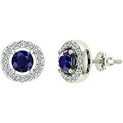 Natural Blue Sapphire Halo Stud Diamond Earrings 14K Gold