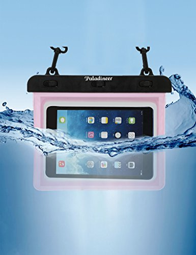 Paladineer Waterproof Cell Phone Carrying Fluorescent Cases with IPX8 Certificate Universal Waterproof Pouch with Touch Responsive Front and Back Transparent Screen Protector Windows for Ipad Mini 1/2 Asus Memo Pad 8 Lenovo YOGATab2(Pink)