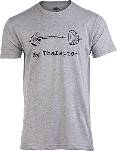 My Therapist (Barbell) | Funny Workout Working Out Weight Lifting Lifter Joke Man T-Shirt-(Adult,L)