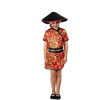 Disfraz de China Roja con Estampado para niña: Amazon.es ...