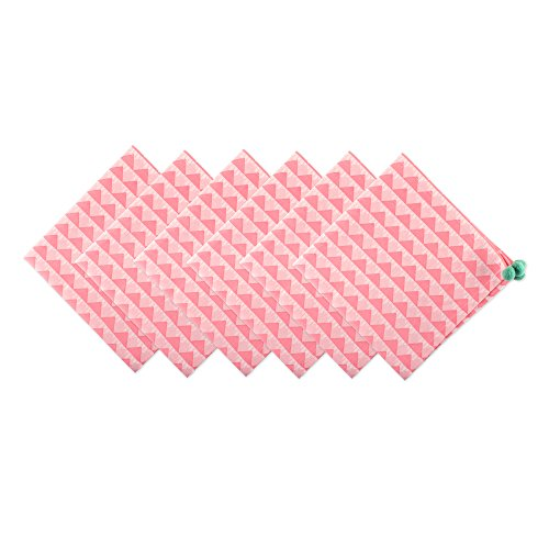 Tablecloth Triangles Pool (DII Oversized Cotton Napkin for Summer, Outdoor BBQ, Pool Party and Every Use - 20x20, Pink Bermuda Triangles with Aqua Mint Tassels, Set of 6)