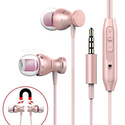 Pink Stereo Earphones (In-Ear Earbuds, Wired Earphone Stereo Noise Cancelling with Mic 3.5mm Metal Housing 4 in 1 Volume Control+Play+Pause+ Answer+End Magnetic Sport Headphones)