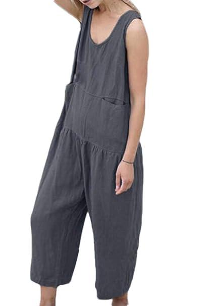 17a49280fe652 Domorebest Pantalones De Una Pieza De Pierna Ancha Sin Mangas  Amazon.es   Ropa y accesorios