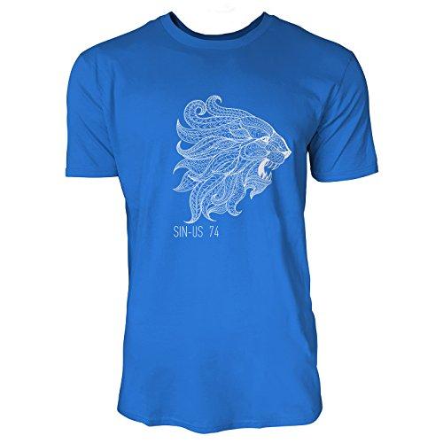 SINUS ART® Löwenkopf mit Ethno Muster in Schwarz Weiß Herren T-Shirts in Blau Fun Shirt mit tollen Aufdruck