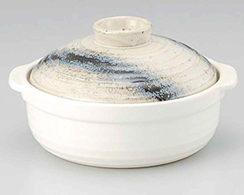 Ishime Ginga for 2-3 persons 8.6inch Donabe Japanese Hot pot White Ceramic Made in Japan by Watou.asia