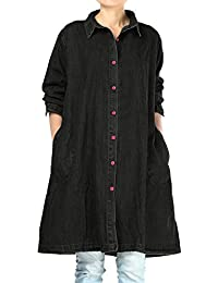 Women's Plus Size Jacket Button-Down Denim Shirt Blouse With Pockets