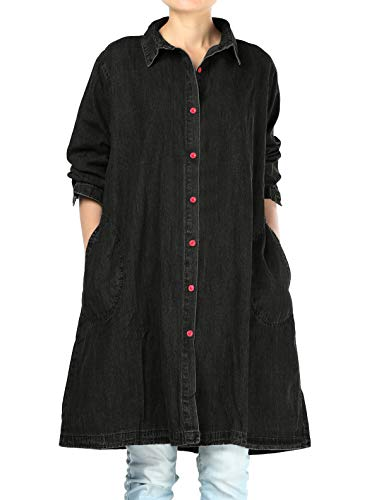 Denim Blouse Shirt - Mordenmiss Women's New Jean Jacket Button-Down Denim Shirt Blouse with Pockets (XL,Black)