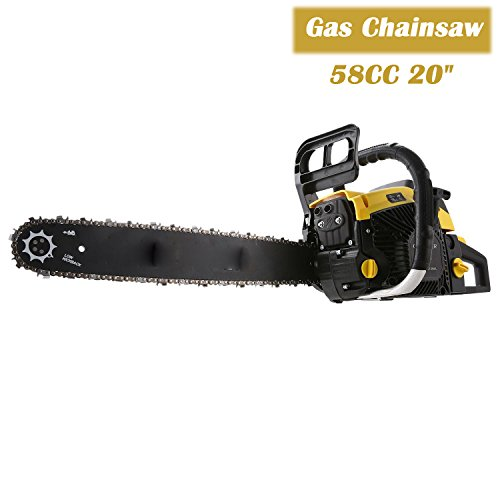 58CC 20'' Gas Chainsaw, 4 HP 2 Strokes Single Cylinder Gasoline Engine Cutting Wood Chainsaw with Bag for Farm, Garden (Yellow) by Ferty