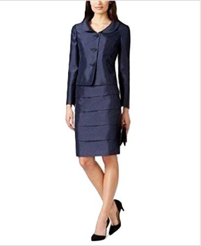 Kasper Floral-Button Shimmer Skirt Suit Midnight Blue 6