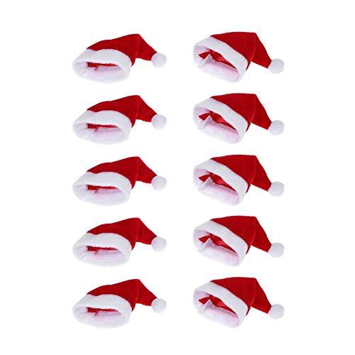 Whitelotous 10pcs Mini Santa Hat Cup Bottles Cover Home Christmas Decor