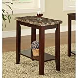 Cherry Chairside Table with Faux Marble Top by Poundex For Sale