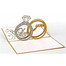 MADE4U Kirigami Papercraft 3D Pop Up Card Anniversary Baby Birthday Easter Halloween Mother's Day New Home New Year's Thanksgiving Valentine's Day Wedding Christmas Card (Diamond Ring) HK3138