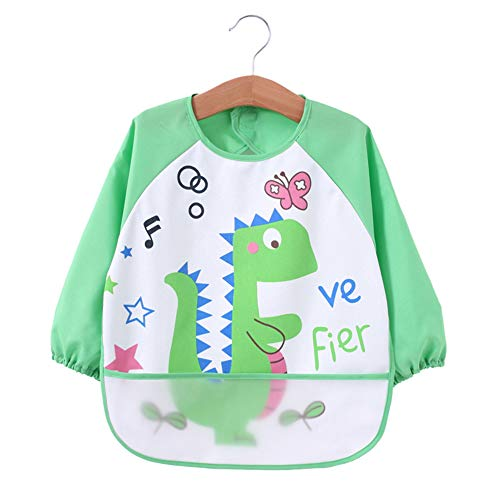 Baby Bibs Waterproof and Wipeable-Eat and Play Smock Apron(6-36 Months) (Green Dinosaur) ()