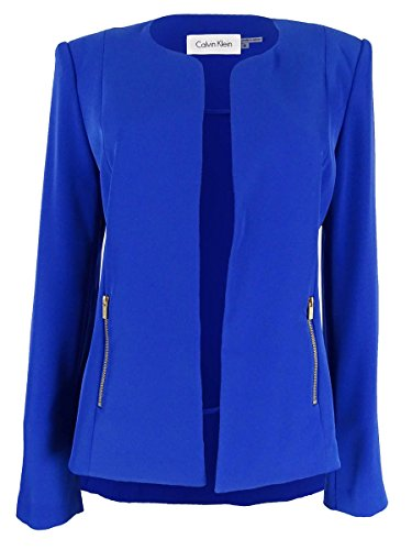 Calvin Klein Women's Solid Open Front Zip Pocket Blazer (8P, Electric Blue) (Pocket Zip Blazer)