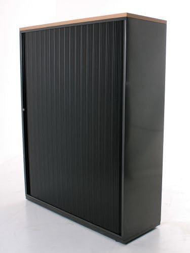 Armario/Aparador 4oh, 151 x 120 cm, color negro, bucheab de cobertura, persianas Puerta Corredera: Amazon.es: Oficina y papelería