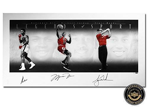 Muhammad Ali, Michael Jordan & Tiger Woods Autographed/Signed Legends of Sport Platinum 49x25 Collage