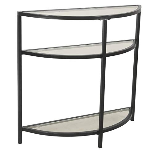 Spatial Order Half-Moon Modern Metal Accent Table, Black ()