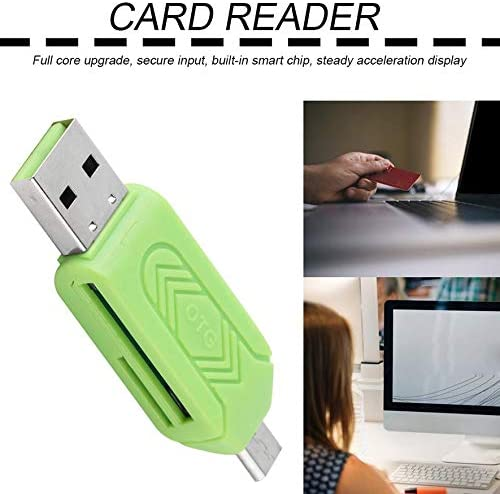 AdaAda Black ABS Reliable Micro USB OTG TF T-Flash Card Reader for Cell Phone PC Green