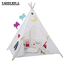 Loisleila Five Poles Indian Play Tent Children Teepees Kids Tipi Tent Cotton Canvas Teepee White Play House for Baby Room