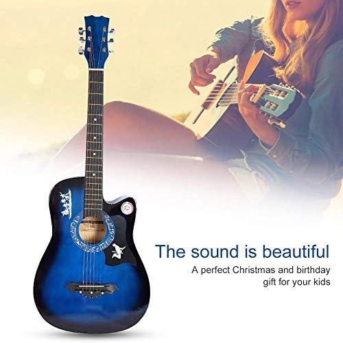 Blue Wood Folk Guitar Dreadnought Cutaway Beginner Tuner Kit Natural Acoustic Guitar Bundle KitAccessories / Blue Wood Folk Guitar Dreadnought Cutaway Beginner Tuner Kit Natural Acoustic Guitar Bundle KitAccessories