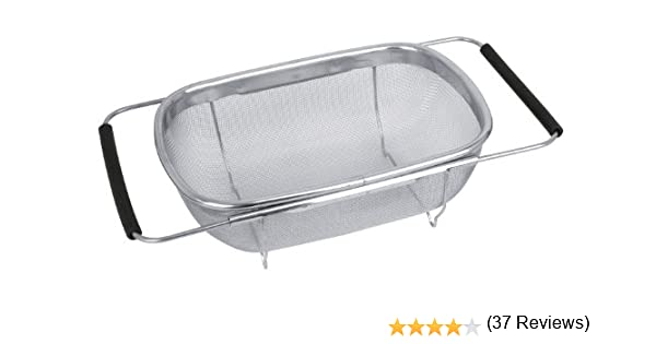 Ideal para enjuagar y Lavar Frutas Verduras y m/ás Invero Colador de escurridor de Agua Acero Inoxidable Ajustable para Fregadero con Asas Extensibles