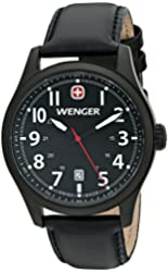 Wenger Men's 0541.101 Analog Display Swiss Quartz Black Watch