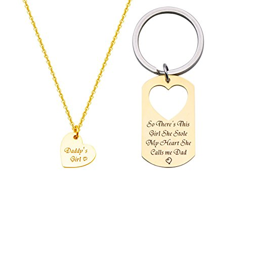 BRBAM Father Daughter Necklace and Keychain Set-So There's This Girl She Stole My Heart She Calls Me Dad Engraved Jewelry Sweet Gift Between Father and Daughter (Gold Set) ()