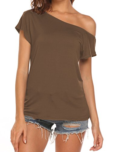 Halife Basic Tshirts for Women Short Sleeve T-Shirt Tops Casual Loose Tees (M, Coffee)