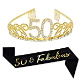 50th Birthday Gold Tiara and Sash, Glitter Satin Sash and Crystal Tiara Birthday Crown for 50th Birthday Party Supplies Favors Decorations 50th Birthday Cake Topper