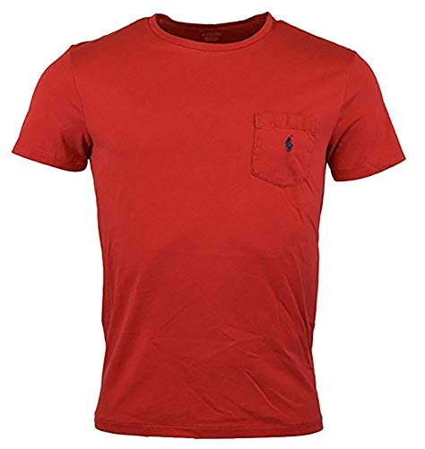 (Polo Ralph Lauren Men's Classic Fit Pony Logo Short Sleeve Crewneck Front Patch Pocket T-Shirt (XX-Large, Red))