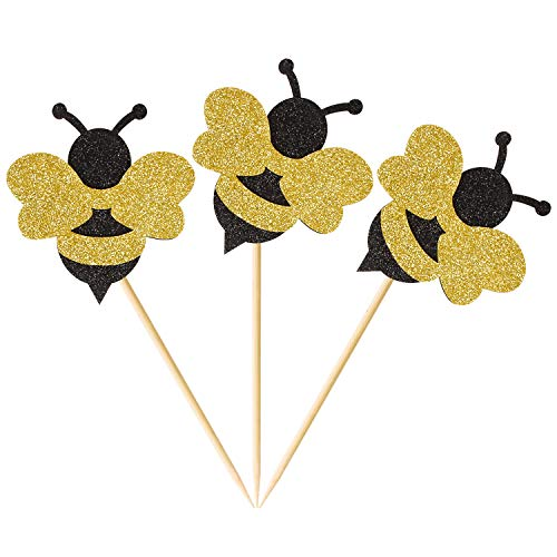 Donoter 40 Pack Glitter Bumble Bee Cupcake Topper