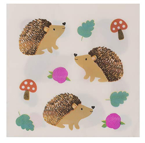 (Cocktail Napkins - 150-Pack Luncheon Napkins, Disposable Paper Napkins Kids Birthday Party Supplies, 2-Ply, Hedgehog Design, Unfolded 13 x 13 Inches, Folded 6.5 x 6.5 Inches)