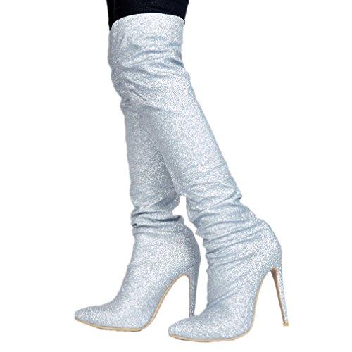 Silver Knee Handmade Nubuck Heel CASSOCK Long Boots Glitter Ladies Booties High YUPqOv6