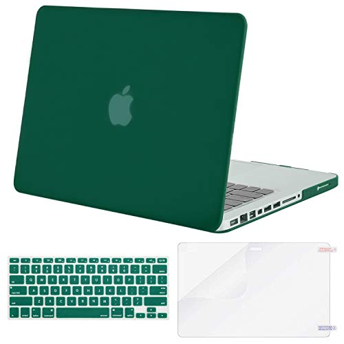 MOSISO Plastic Hard Shell Case & Keyboard Cover & Screen Protector Only Compatible with Old Version MacBook Pro 13 Inch (A1278, with CD-ROM), Release Early 2012/2011/2010/2009/2008, Peacock Green