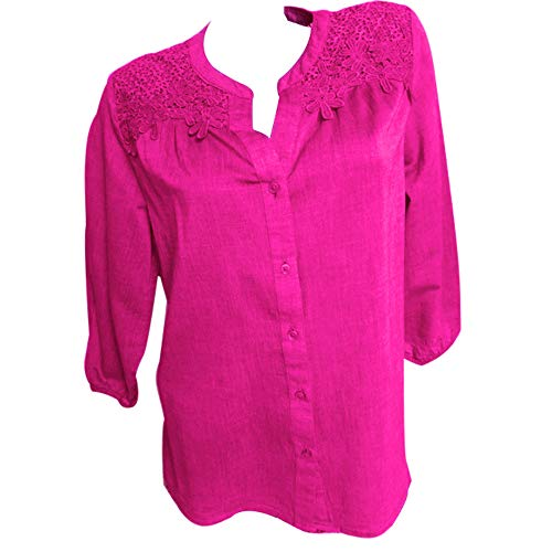 Chemise Chemisier Manches GiveKoiu Body Longues Femme Rose Vif 6APEnwFqvx
