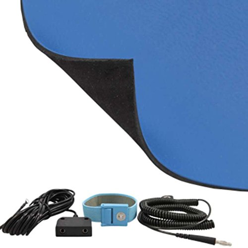 FT Series 2-Layer Diss/Cond Textured Heavy Duty Rubber Worktop Mat Kit with Wrist Strap, Ground Cord and Two Snaps, Dark Blue/Black, 36 x 72 x .080