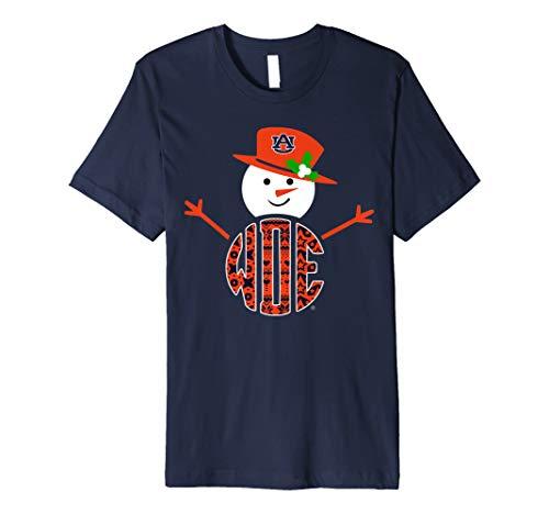 Auburn Tigers Patterned Team Name Snowman T-Shirt - Apparel