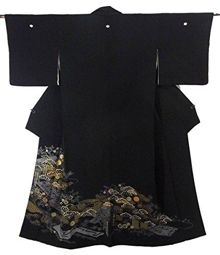 噴出する放射能ファイバリサイクル 着物 黒留袖 松竹梅文様 金駒刺繍 正絹 袷 裄63cm 身丈157cm