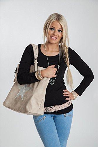 styleBREAKER Handtasche mit Stern Cutout und Ziernaht, glitzer Stern Schultertasche, Damen 02012065, Farbe:Schwarz Schwarz