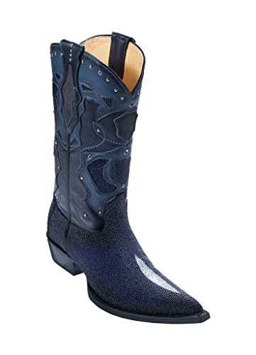 Men's 3X Toe Faded Navy Blue Genuine Leather Stingray Skin Single Stone Western Boots W/Cowboy Heel