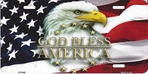 Smart Blonde LP-5348 God Bless America Eagle Novelty Metal License Plate
